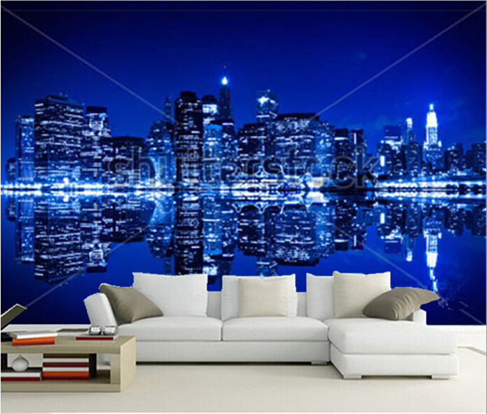 Custom 3D murals,New York at night with reflection in water with blue hue , living room sofa TV wall children bedroom wall paper<br>