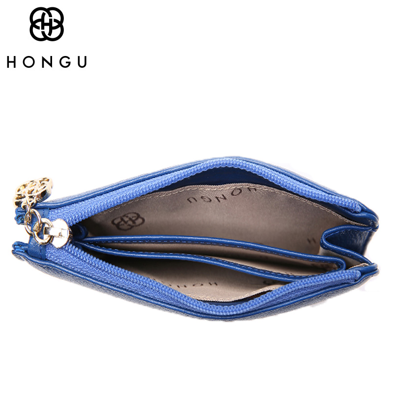 HONGU High Quality Genuine leather Bags Women Money Clips Credit Card Clip Wallet Messenger Wallets Package Zipper Female Purses(China)
