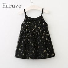 Hurave 2017 New Casual kids Summer Black Dress Girl Star Print Sleeveless Children Vestidos Summer Clothing