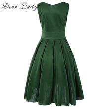 Deer Lady 2017 Women Summer Fashion Dress Olive Sleeveless Elegant Dres Girls Puffy Dresses For Party Club