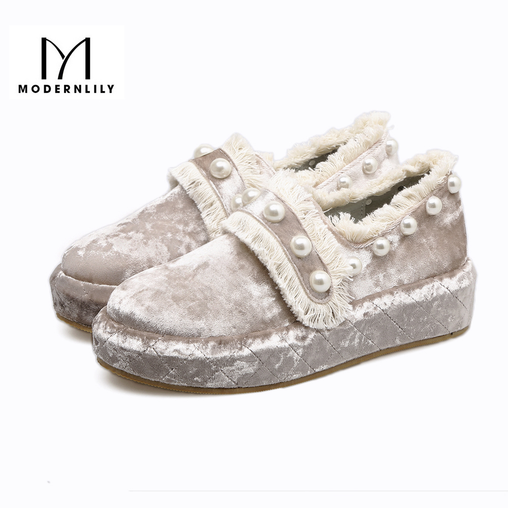 MODERNLILY Flat Platform Shoes Woman Flock String Bead Tassel Slip On 2017 Autumn Brand Ladies Shoes Zapatos Mujer Free Shipping<br>