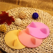 1Pcs Creative Cute Cat Ears Silicone Insulation Cup Cover Dustproof Reusable Cup Lid DIY Free Splicing Thermal Seal Cover