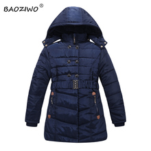 Baoziwo Girls hooded winter jackets black and navy col with polar fleece inside belt on the waist long  girls winter jackects