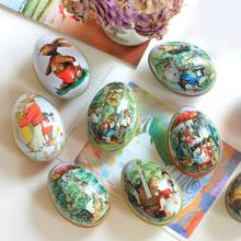 Random Mix Easter Bunny Chick Printing Alloy Metal Trinket Tin Easter Eggs Shaped Candy Box Tinplate Case Party Decoration