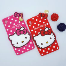 New 3D Cartoon Hello Kitty Case Soft Silicon Back Cover for Sony Xperia Z4 Z3+ Z3 Plus E6553 Rubber Phone Shell