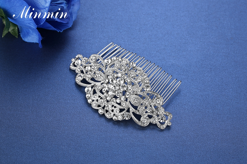 Minmin Floral Crystal Hair Combs Wedding Hair Accessories Hair Jewelry for Women Bridal Hairpins Tiara for Brides FS069 23