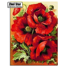 Embroidery Cross Russia Flowers red rose Diy Diamond Paintings Full Mosaic Picture Pattern Cross Stitch Rhinestone mosaic ZX
