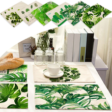 42x32cm Green Leaves Pattern Cotton Linen Western Pad Placemat Insulation Dining Table Mat Bowls Coasters Kitchen Accessories(China)