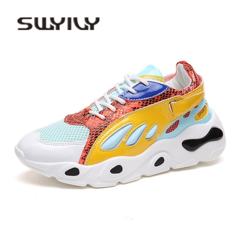 SWYIVY Light Weight Casual Sneakres Color 2018 Auutmn Hot Fenale Leisure Walking Shoes Mesh Breathable Flats Sneakers Woman 40