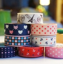 0.5CM*2.2M Cute Fashion Design tape Lovely Cartoon Fabric Satin Craft Tape Sticky DIY Scrapbooking Adhesive Decorative Ribbon