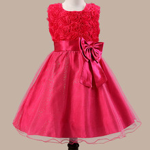 2017 New Design Flowers Kids Girls Princess Dresses With Big Bow Toddlers Prom Dresses For Birthday Party Kids Girls Clothing