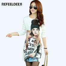Refeeldeer Long Sleeve Dress Women 2017 Spring Autumn Casual Rivet Beautiful Pattern Printed Kawaii Dress Robe Femme
