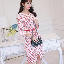 Buy Korean Spring Autumn dress women clothing slim show thin dress bodycon sleeve cute red white plaid mid dress fashion Vestidos for $10.20 in AliExpress store