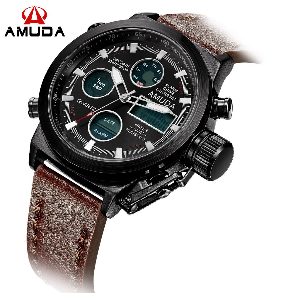 2017 Vogue Mens Swimming Digital LCD Quartz Dual Time Outdoor Sport Army Watches Clock With Leather Strap Military Wristwatch<br><br>Aliexpress