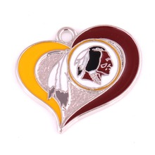 10pcs a lot I love Football Washington Redskins Rhodium Plated Sports Charm Pendant(China)