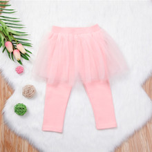 2018 Fall Cotton Pants Baby Girls Kids Sweet Tulle Skirt Skinny Leggings Toddler Ball Gown Party Leggings Children Clothing(China)