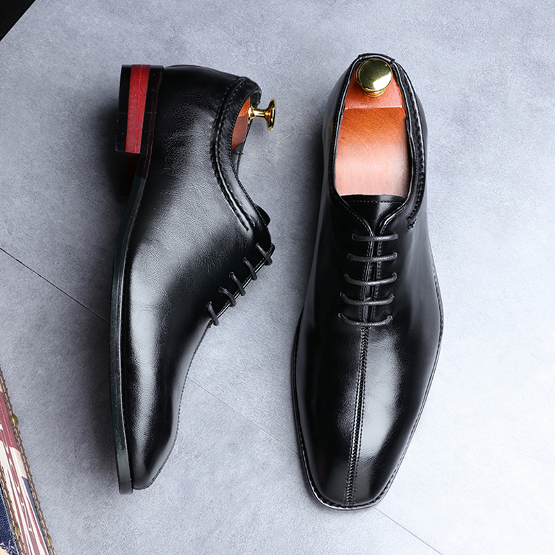 2019 Newest Men Dress Shoes Designer Business Office Lace-Up Loafers Casual Driving Shoes Men's Flat Party Leather Shoes 3 Color (19)