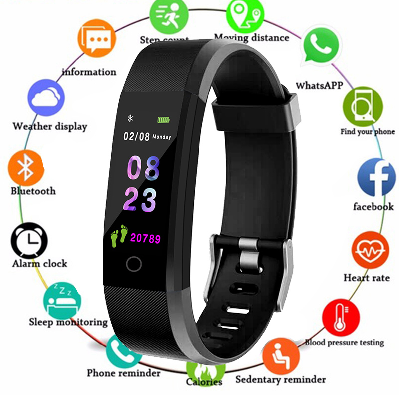 Smart Wristband Health Monitor Heart rate/Blood Pressure/Pedometer Waterproof Sports Bracelet for Men Women watch PK Miband 3(China)
