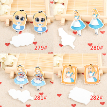 kawaii baby Alice figurines Cartoon planar craft flat back resins bow DIY home garden decoration hair Accessories