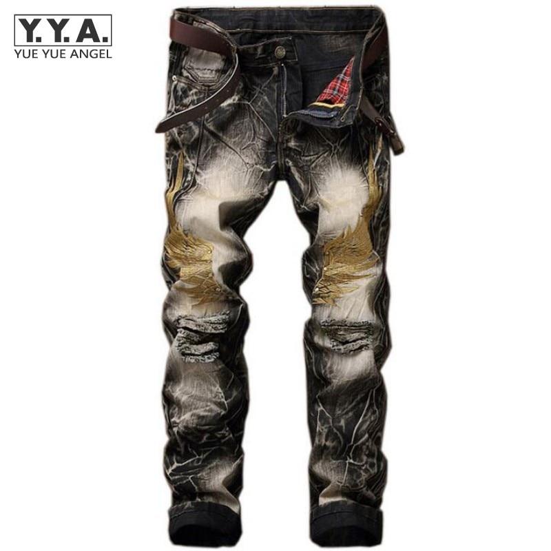 Hot Sale Summer Mens Retro Jeans Ripped Hole Male Slim Fit Denim Trousers Embroidery Wings Design Biker Jeans Pants Plus Size 42Îäåæäà è àêñåññóàðû<br><br>