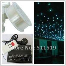 great discount--1roll 0.75mm PMMA plastic optical  fiber 2700m +1pc 16W LED RGB light engine with remote