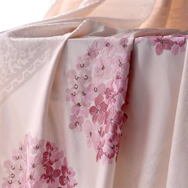 Jacquard Window Semi-Blinds Curtains For Bedroom Pink Floral Embroidered Curtain Tulle And Curtains Fabric For Girls Room W388&2