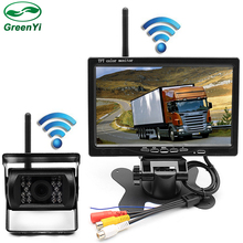 "GreenYi DC 12-24V 2.4 GHz Wireless 7"" Car Monitor With CCD Rearview Camera For Truck Trailer Bus Parking Video System(China)"