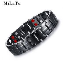 MiLaTu Black Men's Health Energy Bracelet Bangle Stainless Steel Chain Link Bracelet Male Magnetic Bracelet B372