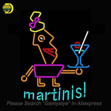 Martinis Neon Sign Bulb neon signs for sale Real Glass Tube Handcrafted Beer Bar Pub Sign custom neon lights light up signs(China)