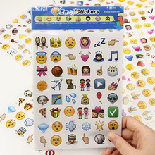 4 Sheets/set 192 Die Cut Emoji Smile Stationery Sticker for Laptop Notebook Message Children Cartoon Learning Stationery
