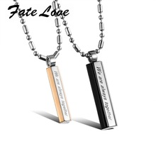 Fate Love Fashion Pendant for Lovers 316L Stainless Steel Lover Pendant Necklace Popcorn Long Chains Engraved Pendant Gift FL952(China)