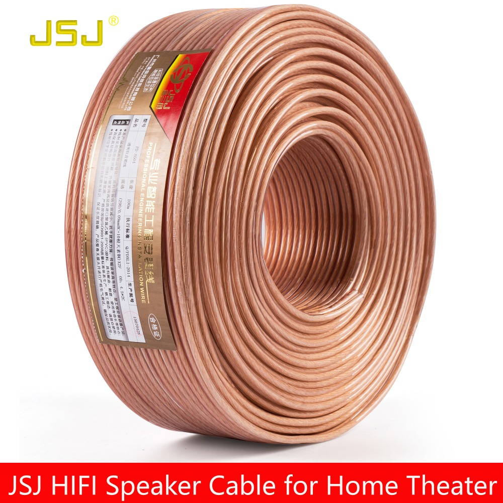 JSJ 14GA 2x2.36 DIY HIFI Transparent OFC Pure Copper Car Speaker Wire Installation Cable Home theater DJ System stereo high end