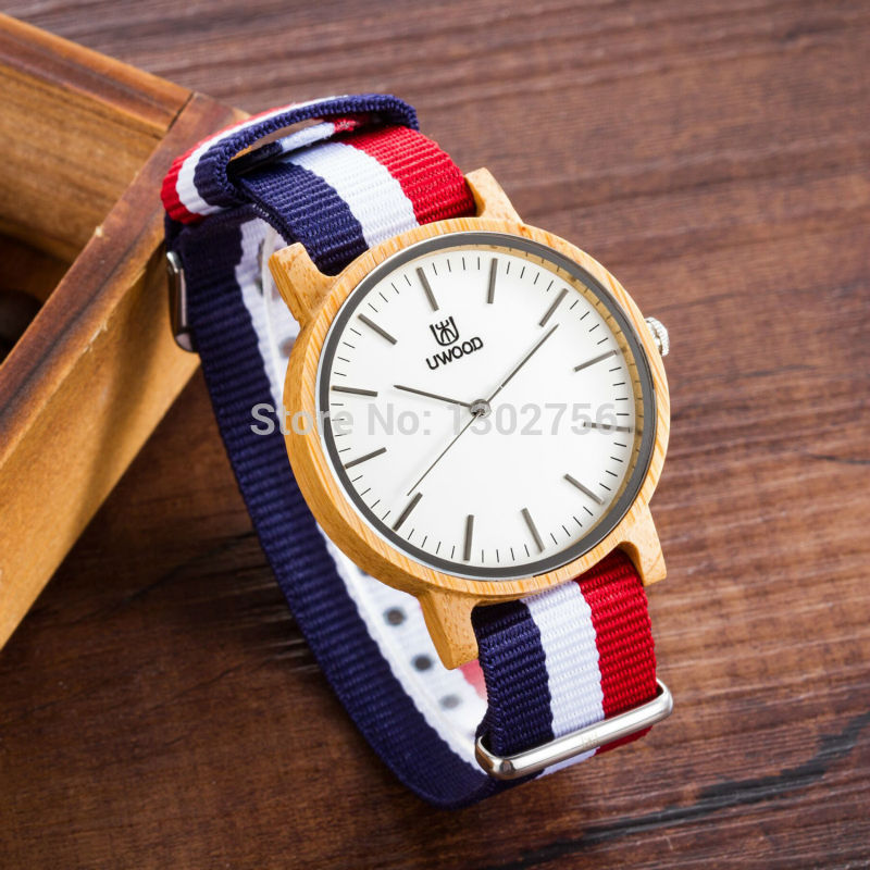 Uwood Luxury Brand Natural Carbonized Bamboo Nylon Band Quartz Watch Original Analog Wood Watches For Men Women Fashion Gift<br>