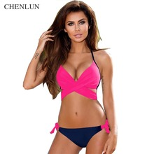 CHENLUN 2017 Sexy Criss Cross Bandage Bikini Women Swimsuit Push Up Swimwear Halter Bikini Set Beach Bathing Suit Swim Wear XXL(China)