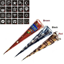 3 Pcs Henna Cones Red Brown Black + 20pcs Stencils Temporary Tattoo Kits Body Art Mehandi Ink For Body Paint 2017 @ME88(China)