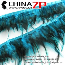 Gold Supplier CHINAZP Factory 10yards/lot Cheap Wholesale Dyed Turquoise and Black Rooster Saddle Feathers Fringe Trim(China)