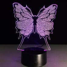 Butterfly 3D Visual Led Night Lights For Kids Animal Touch USB Table Lampara As Besides Lampe Baby Sleeping Nightlight(China)