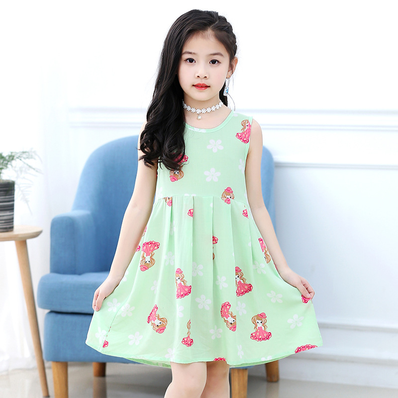 18 New Casual Dress Summer Style Sleeveless Cartoon printed pure cotton for Girls Dress 3-10 Years Children Clothing 7