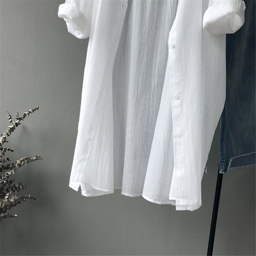 100% Cotton Casual White Long Blouse Women 2018 Spring Women Long Sleeve White Shirts Blouse High quality loose Blouse Tops (5)