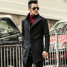 Men Jacket Woolen Coat Long style Fashion Trench Coat Homme Brand Casual Fit Overcoat Jacket Outerwear men European style warm(China)