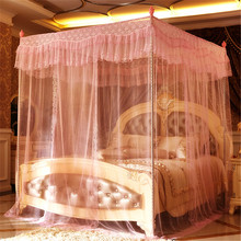 {Byetee} Luxurious lace three door mosquito net with stainless steel bed canopy netting mosquito net adult canopy beds