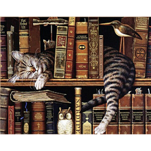 mosaic diamond painting embroidery Cute book shelf sleepy kitty cat beads cross stitch painting handwork picture rhinestones x49