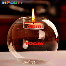 10cm Glass Candle Holders Wedding Candlestick Tealight Holder Photophore Verre Candlesticks Candle Stand Tea Light Holder