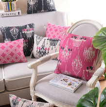 Nordic Sofa bed Decorative Throw Pillows Covers,Linen Cotton Pink Black Geometric Cushion Covers Gray,Sofa Euro Pillows Covers