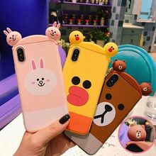 For iPhone 8 3D Chicken Sally Brown Bear rabbit case for iphone X /7 / 7plus/ 6 6S / 6S plus 8plus Hair hoop soft phone case(China)