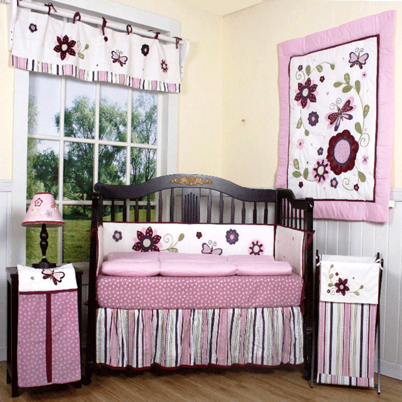 100% cotton baby bedding kit 8 piece set baby bedding embroidered
