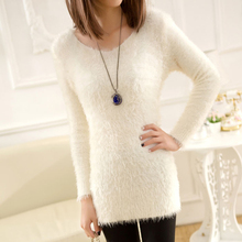 New Long Knitted Sweaters 2017 Autumn Winter long sleeve Sweater Women Pullover Fall Solid Color O-neck Slim 5 colors 31
