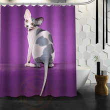 Cute Grumpy Sphynx Cat Custom Made Unique Bath Waterproof Shower Curtain Bathroom Products Curtains 48x72, 60x72, 66x 72 inches