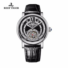 Reef Tiger/RT Luxury Brand Mens Tourbillon Automatic Analog Watch Genuine Leather Strap 316L Steel Watches RGA192(China)