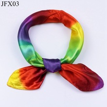 Fashion Small Square 40% Natural Silk Women Scarves Luxury Rainbow Morphing Woman Neck Scarf for Bags Bandana Hijab 60*60cm(China)